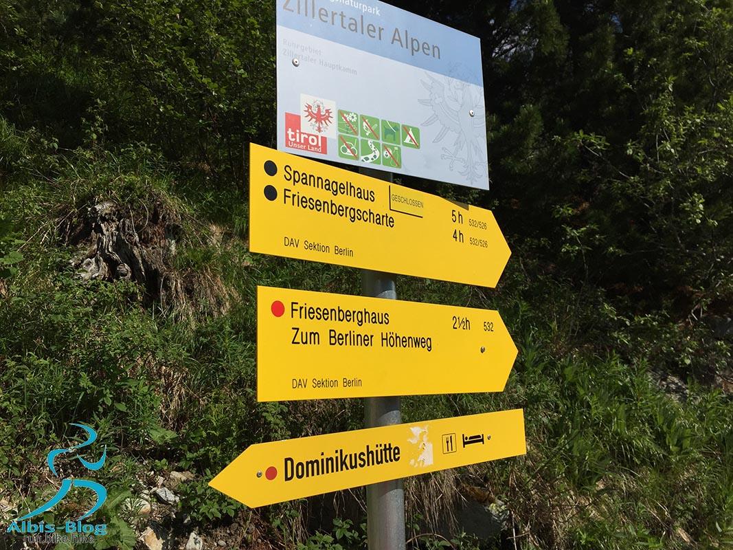 Wegweisere zum Friesenberghaus