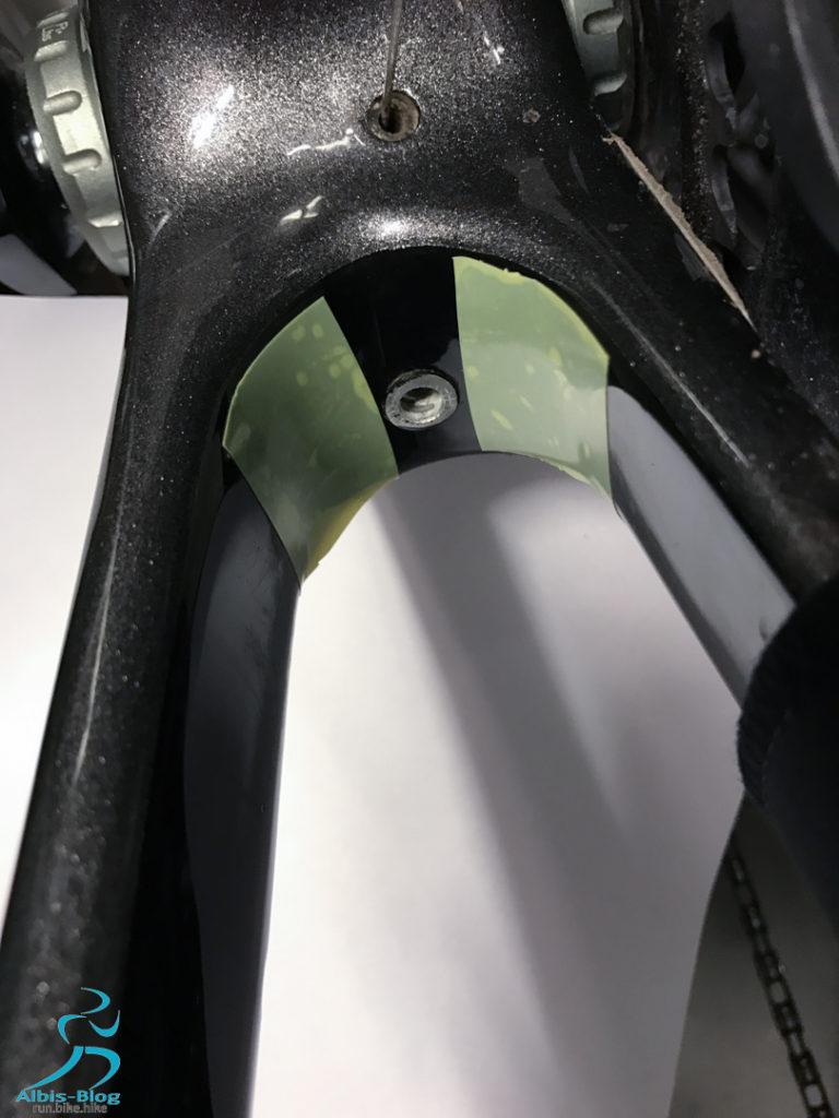 Rahmenschutz mit Tesa 4289 für die Schutzbleche am Gravelbike
